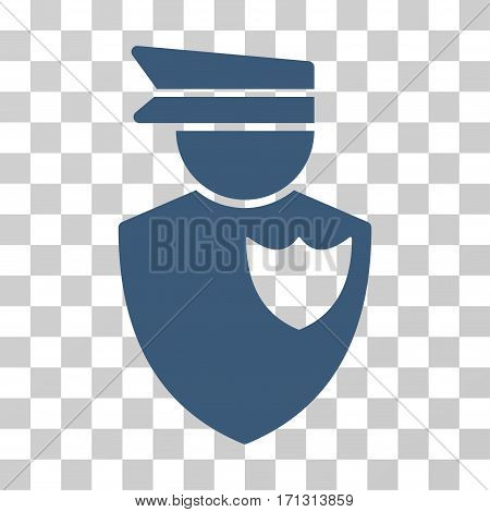 Policeman icon. Vector illustration style is flat iconic symbol blue color transparent background. Designed for web and software interfaces.
