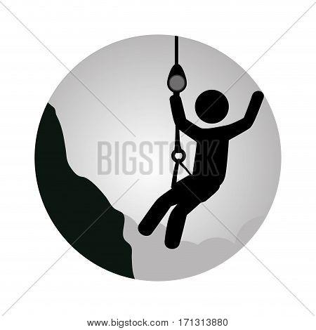 circular frame with man climbing a rope vector illustration