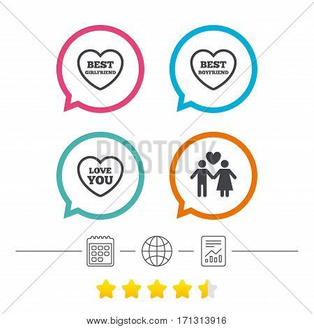 Valentine day love icons. Best girlfriend and boyfriend symbol. Couple lovers sign. Calendar, internet globe and report linear icons. Star vote ranking. Vector