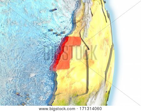 Western Sahara In Red On Earth