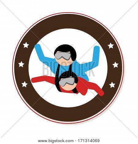 circular emblem with couple in parachute vector illustration