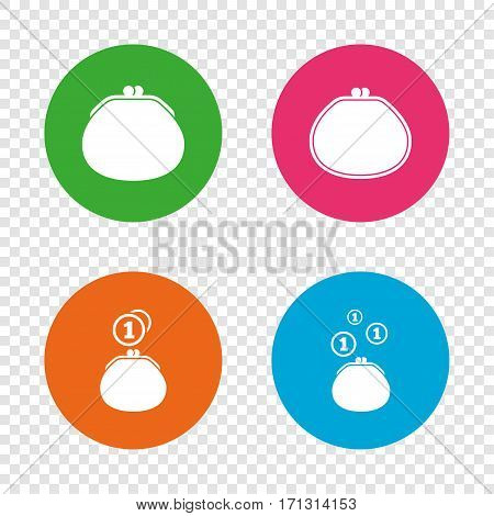 Wallet with coins icons. Cash bag signs. Retro wealth symbol. Round buttons on transparent background. Vector