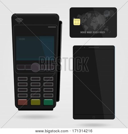 Nfc payments concept. Wireless, contactless payment using your phone. Illustration of a POS terminal and debit credit card.