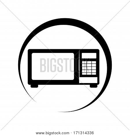 monochrome circular frame with microwave oven vector illustration
