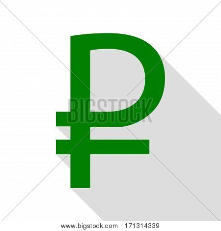 Ruble sign. Green icon with flat style shadow path.