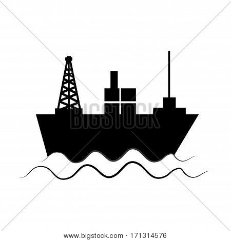 monochrome silhouette with tanker in sea vector illustration