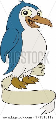 Illustration of a Penguin an aquatic flightless birds viewed from the side set on isolated white background with ribbon scroll done in cartoon style.