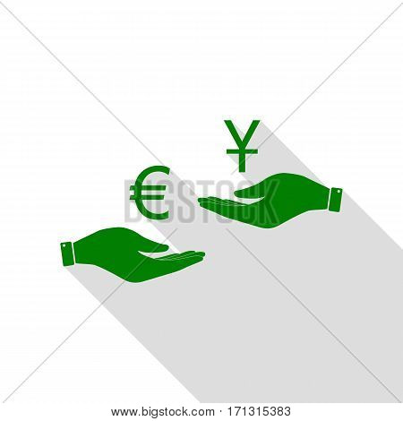 Currency exchange from hand to hand. Euro and Yuan. Green icon with flat style shadow path.