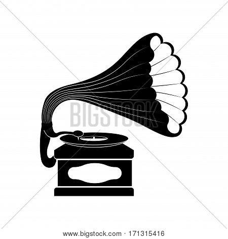 Gramophone music device icon vector illustration graphic design