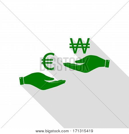 Currency exchange from hand to hand. Euro and Won. Green icon with flat style shadow path.