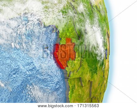 Gabon In Red On Earth