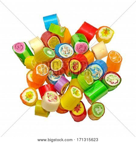 Assortment of colorful rock candy isolated on white background. Selective focus.