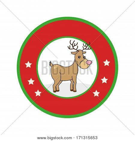 color circular frame with reindeer vector illustration
