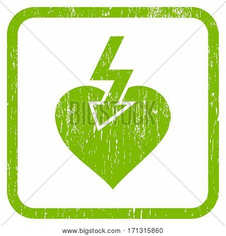 Heart Shock Strike rubber watermark. Vector icon symbol inside rounded rectangular frame with grunge design and dust texture. Stamp seal illustration.