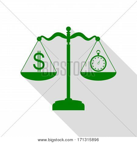 Stopwatch and dollar symbol on scales. Green icon with flat style shadow path.