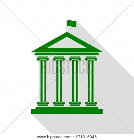 Historical building with flag. Green icon with flat style shadow path.