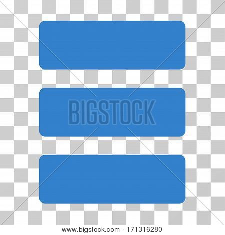Database icon. Vector illustration style is flat iconic symbol cobalt color transparent background. Designed for web and software interfaces.