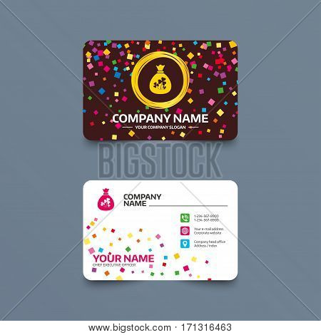 Business card template with confetti pieces. Money bag with three leaves clovers sign icon. Saint Patrick trefoil shamrock symbol. Phone, web and location icons. Visiting card  Vector