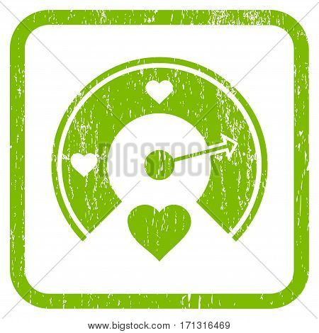 Love Gauge rubber watermark. Vector icon symbol inside rounded rectangular frame with grunge design and dust texture. Stamp seal illustration. Unclean light green ink emblem on a white background.