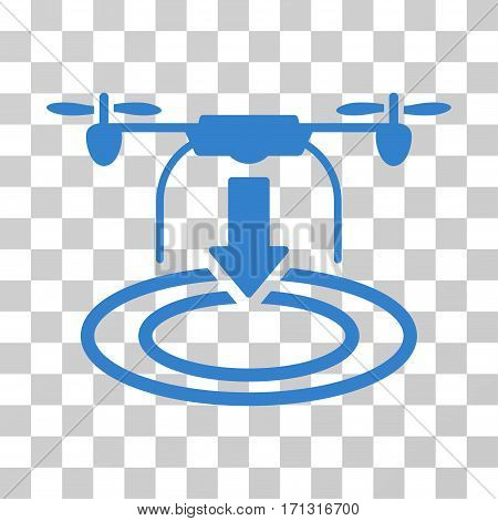 Drone Landing icon. Vector illustration style is flat iconic symbol cobalt color transparent background. Designed for web and software interfaces.