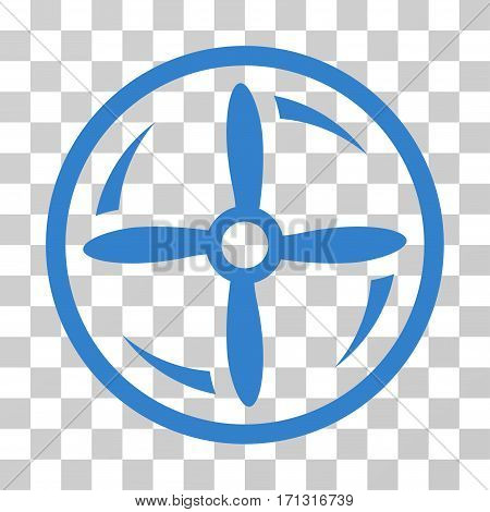 Drone Screw Rotation icon. Vector illustration style is flat iconic symbol cobalt color transparent background. Designed for web and software interfaces.