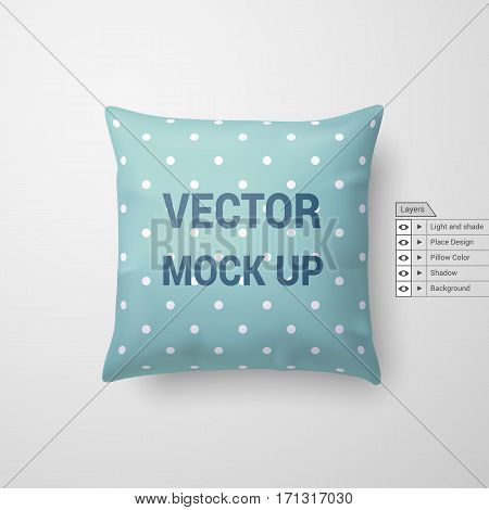 Mock Up of a Aquamarine Pillow Isolated on White Background