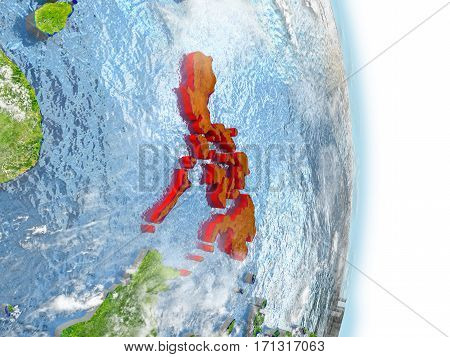 Philippines In Red On Earth