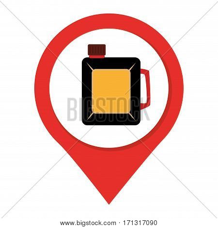 map pointer with container of petroleum vector illustration
