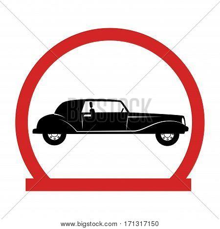 circular emblem with classic car vector illustration