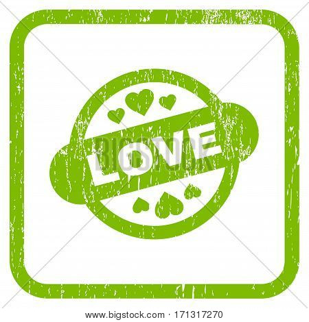 Love Stamp Seal rubber watermark. Vector pictogram symbol inside rounded rectangular frame with grunge design and dirty texture. Stamp seal illustration.
