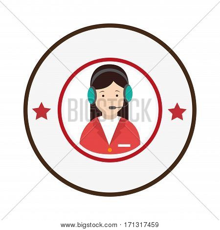 colorful circular emblem with female customer service vector illustration
