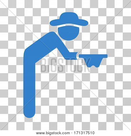 Gentleman Beggar icon. Vector illustration style is flat iconic symbol cobalt color transparent background. Designed for web and software interfaces.
