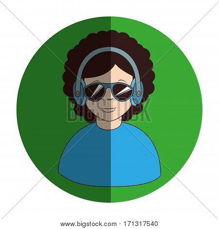 circular frame of man with headset stereo vector illustration