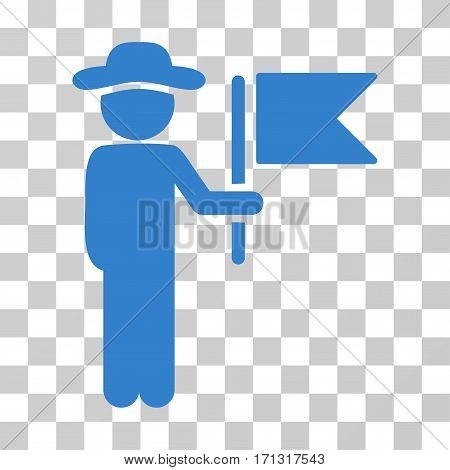 Gentleman Commander icon. Vector illustration style is flat iconic symbol cobalt color transparent background. Designed for web and software interfaces.