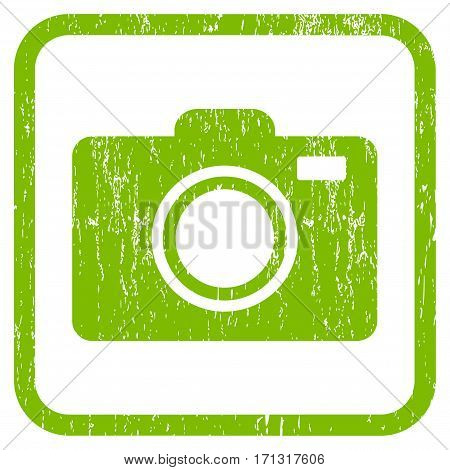 Photo Camera rubber watermark. Vector icon symbol inside rounded rectangular frame with grunge design and dirty texture. Stamp seal illustration. Unclean light green ink emblem on a white background.