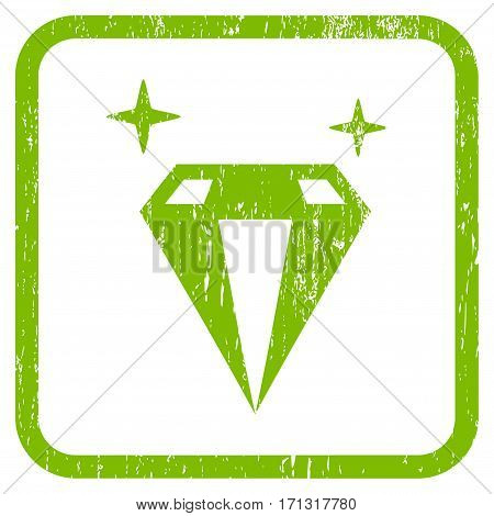 Sparkle Diamond Crystal rubber watermark. Vector pictogram symbol inside rounded rectangle with grunge design and dust texture. Stamp seal illustration.