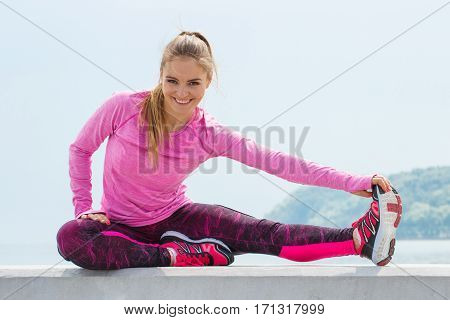 Slim Girl In Sporty Clothes Exercising By The Sea, Healthy Active Lifestyle