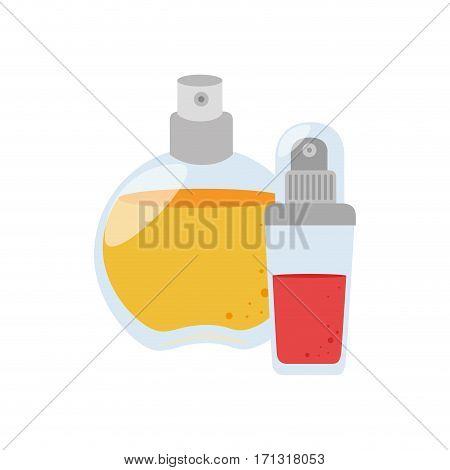 set collection glass bottle spray fragrance vector illustration