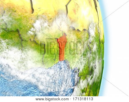 Benin In Red On Earth