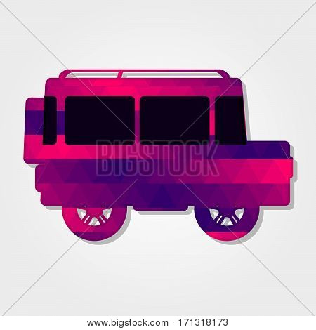 Car 4x4 with a colored triangles forming a gradient purple to pink..