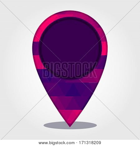 Geo Location Pin with a colored triangles forming a gradient purple to pink..