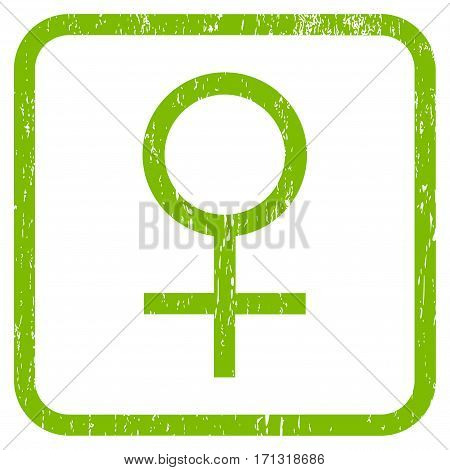 Venus Female Symbol rubber watermark. Vector icon symbol inside rounded rectangular frame with grunge design and unclean texture. Stamp seal illustration.