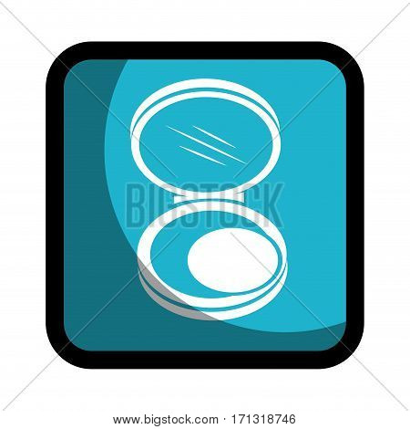 square button with face powder beauty product vector illustration