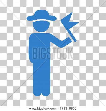 Gentleman With Flag icon. Vector illustration style is flat iconic symbol cobalt color transparent background. Designed for web and software interfaces.