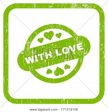 With Love Stamp Seal rubber watermark. Vector icon symbol inside rounded rectangle with grunge design and scratched texture. Stamp seal illustration.