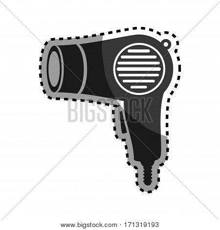monochrome sticker hairdryer utensil hairstyle vector illustration