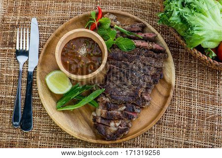 Grilled Beef Steak With Spicy Sauce Lemon, Medium Rare Barbecue Steak And Healthy Salad, Thai Style