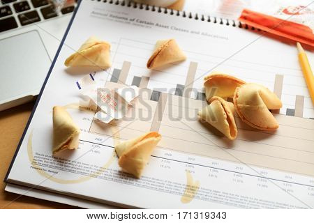 Fortune Cookies On A Financial Chart. Concept Of Decision Making.