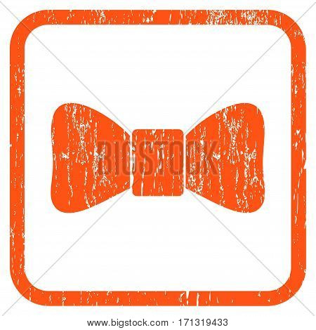 Bow Tie rubber watermark. Vector pictogram symbol inside rounded rectangular frame with grunge design and dust texture. Stamp seal illustration. Unclean orange ink sign on a white background.