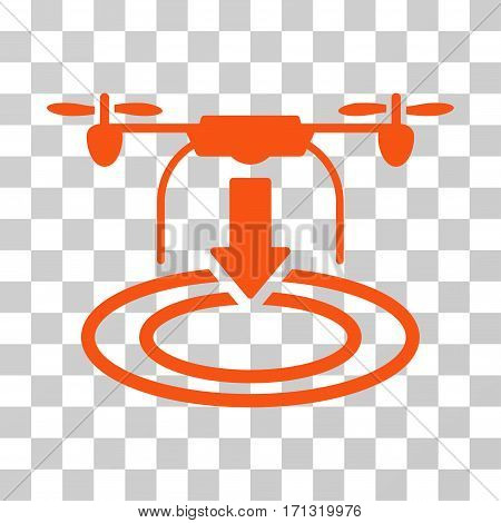 Drone Landing icon. Vector illustration style is flat iconic symbol orange color transparent background. Designed for web and software interfaces.